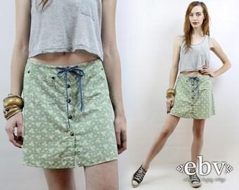 Floral Skater Skirt 90s Skater Skirt Vintage 90s High Waisted Floral Mini Skirt M High Waisted Skirt High Waist Skirt 90s Mini Skirt