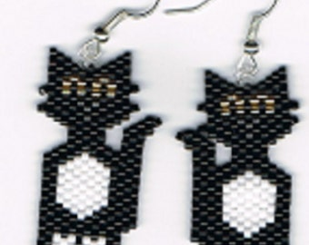 Hand Beaded Tuxedo Cat earrings