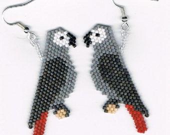Hand Beaded Timneh Grey Amazon Parrot earrings