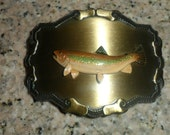 "Vintage Handpainted ""Salmon Fish"" Belt Buckle by Raintree Buckleys and Jewelry"