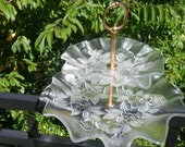 Vintage 2 Tier Clear Glass Embossed Serving Tray