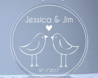 Love Birds Bride and Groom Personalized Engraved Wedding Cake Topper