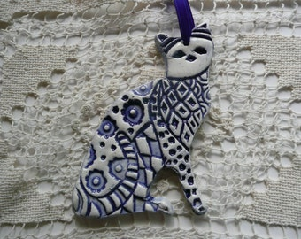 Ceramic Cat Ornament - Blue and White