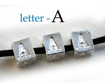 Silver Letter A - Alphabet Letter Beads, 7mm, greek metal letters, cube beads, for leather cord, personalized, 3pc - F312