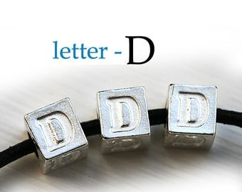 Silver Letter D - Alphabet Letter Beads, 7mm, greek metal letters, cube beads, for leather cord, personalized, 3pc - F314