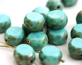 Turquoise table cut beads, oval czech glass beads, Picasso beads, thick faceted, rustic, 12mm - 6Pc - 0743