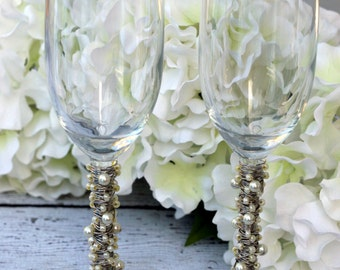 Ivory Pearl & Silver Toasting Flutes TABLE SETTING, champagne flute, bridal gift, custom, knife set, special occasion, shower, reception