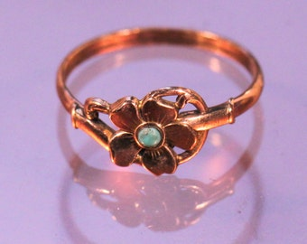 Antique Ring Gold Plated Ring Flower Ring Turquoise Charming Art Nouveau French Jewelry Ring Size 8.25 US