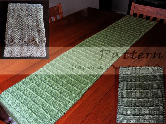 Knitted Table Runner Lace Pattern : Knitted Table Runners Knitting Pattern