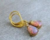 Fire Opal Earrings .. opal drop earrings, opal earrings, vintage glass earrings,  wedding jewellery