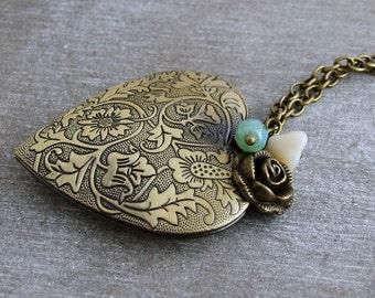 Large Heart Locket .. flower locket, long necklace, layering necklace, charm necklace