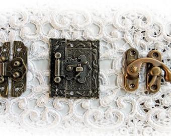 Reneabouquets Victorian Tarnished Brass Latch Trinkets 3 Pack~ Metal Scrapbook Embellishment,  Box Latch, Book Box Latch, Mini Album Latch