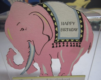 Cute and colorful die cut 1932 art deco Rust Craft birthday card with pink elephant with tusks