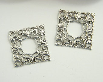 Antiqued Silver Filigree, Square Filigree, Brass Filigree, Cabochon Wrap, Brass Connector, 20mm - 4 pcs. (sl121)