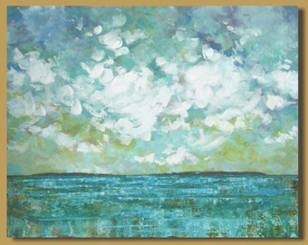 ocean painting with clouds, seascape painting, turquoise blue, windswept clouds, landscape, abstract painting, impressionism, 24x30