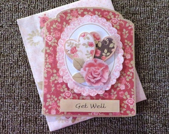 Roses & hearts get well card.