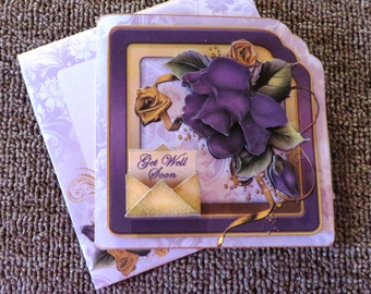 Purple rose scalloped get well card