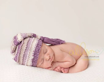 Newborn Hat, Stocking Hat, Purple, Cream, Stone, Photo Prop
