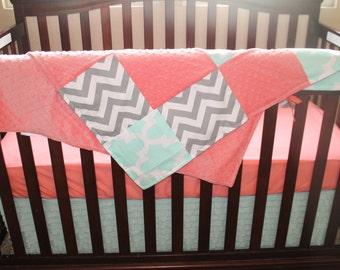 Mint Fynn, Gray Chevron, Coral, and Mint Ruffle Crib Bedding Ensemble