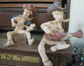 Vintage Set of 2 Schoolcraft Clay Cowboys