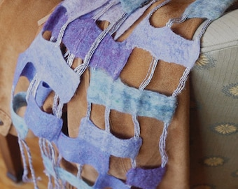 Nuno Felted String Scarf in Many Shades of Lavender