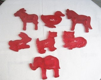 7 HRM Clear Red Plastic Animal Cookie Cutters Vintage 1960s Rabbit, Duck, Cat, Elephant, Donkey, Horse, Dog