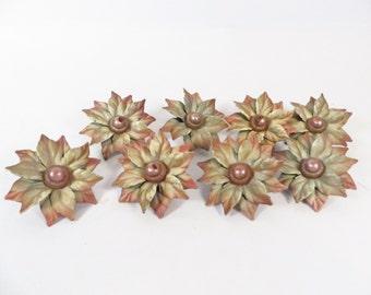 Mid Century Flower Drapery Tacks - Set of 8 Metal Flower Curtain Tacks