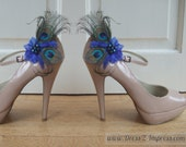 "Bridal Peacock Feathers Royal Blue Shoe Clips ""Edyta"" SCP1209 (Pair) - 1 Day To Make"