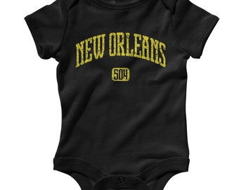 Baby New Orleans 504 Romper - Infant One Piece - NB 6m 12m 18m 24m - New Orelans Baby, NOLA Baby, Louisiana, Creole  - 4 Colors