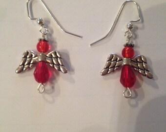 Red Glass Angel Earrings