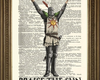"""PRAISE THE SUN: Dark Souls Art, Vintage Dictionary Page Wall Hanging Print (8 x 10"""")"""