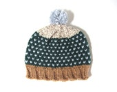 Fair isle chunky pom pom hat in emerald green, sand brown, powder blue and cream hand knitted unisex, READY TO SHIP