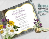 Wildflowers Rustic Bridal Shower Invitation, Yellow, Purple, Floral, Wood  - Custom Printable Shower Invite 5x7 Digital JPEG and PDF