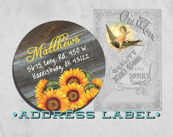 Rustic Sunflower Return Address Labels - Custom Printed Personalized Labels - 2 inch Round Stickers - Adhesive Circle