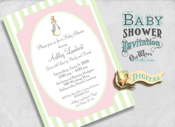 Peter Rabbit Jemima PuddleDuck Baby Girl Shower Invitation Pink and Green - Custom Printable Invite 5x7 or 4x6 Digital JPEG or PDF File