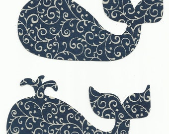 Set of 2 Navy Blue Swirl Whales Fabric Iron On Appliques