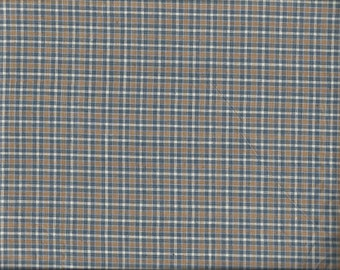 Blue & Tan Plaid Cotton Fat Quarter Fabric