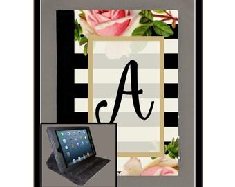 Custom iPad Air iPad 2 iPad 3 iPad 4 iPad Mini Monogram Personalized Case Folio Cover Adjustable Angle Stand Notebook Cover