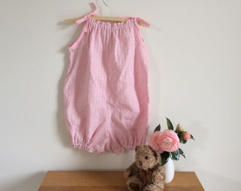 Pale pink cotton baby romper or playsuit, lightweight summer clothes size 0, 1 and 4 ready to ship.
