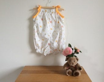 Upcycled fabric romper, white floral baby bubble suit, size 000 - 4 girls, size 3 ready to ship, ecofriendly kids