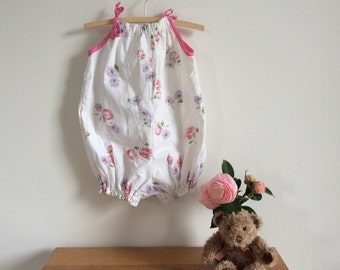 Upcycled baby clothes, mauve and white floral romper suit, size 3 toddler girls clothing, ecofriendly handmade baby outfit, cool for summer