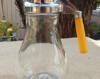 Syrup Dispenser  ~  1930 Butterscotch Bakelite Syrup Dispenser  ~  Patent 1,884,840  ~  Made in USA Sanicut Mfg Co 1930