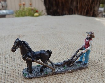 Miniature Metal Farmer Horse and Plow