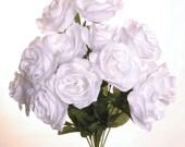 """New Artificial Silk White Rose Bush, 12 White Roses 3.5"""" in diameter."""