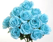 """New Artificial Turquoise Rose Bush, 12 Turquoise Roses 3.5"""" in diameter, Silk Turquoise Roses"""