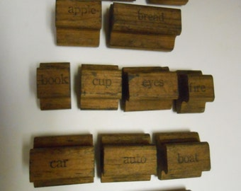 Vintage Columbia Rubber Stamps Assorted Object and Food Lot of 14 (D)