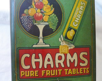 Vintage Tin 1920 CHARMS Pure Fruit Tablets RARE Advertising Tin Vintage Tins By Vintagelady7