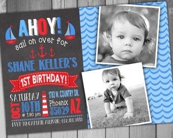 Nautical Birthday Nautical Invitation Ahoy Matey Boy Birthday Boy Birthday Invitation Printable Birthday Photo Birthday Chalkboard