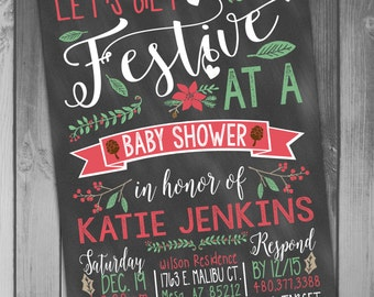 Christmas Baby Shower Invitations Shower Invitations Holiday Baby Printable Baby Printable Shower Printable Christmas Winter Baby