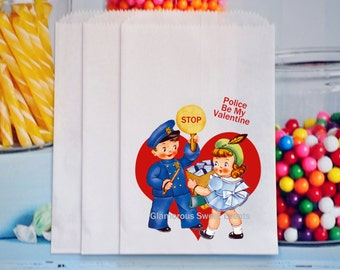 Police Valentine Treat Bags, Police Valentine Favor Bags, Valentine Goody Bags, GLAMOROUS SWEET EVENTS